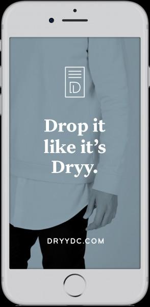 Dryy Drop app in phone frame.